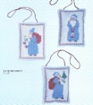 401 Blue Santa Ornaments   Set of 3